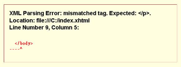Example of XML parsing error