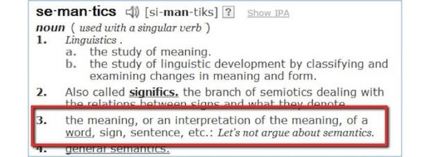 {Screen Capture: Definition of semantics]