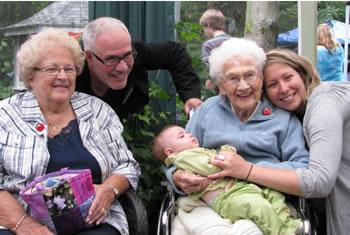 [Photo - My Aunt Giselle, Cousin Dan, baby Miele, Grandma Foliot, Marie-Eve]